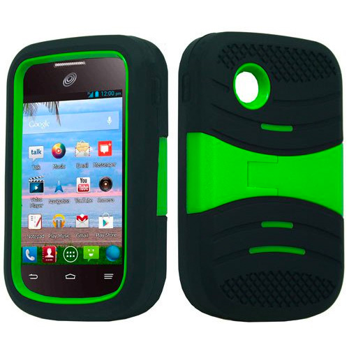 LG 306G / 305C / Aspire LN280 - Black and Neon Green Symbiosis Stormer Impact Shockproof Armor Kickstand Case Cover + Atom LED