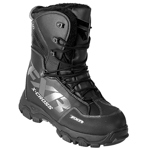 FXR X-CROSS Lace-up Snowmobile Boots Black OPS-Mens 10/EU43/Womens 12