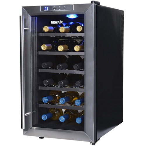 NewAir AW-181E Space Saver 18 Bottle Thermoelectric Wine Cooler, Stainless Steel