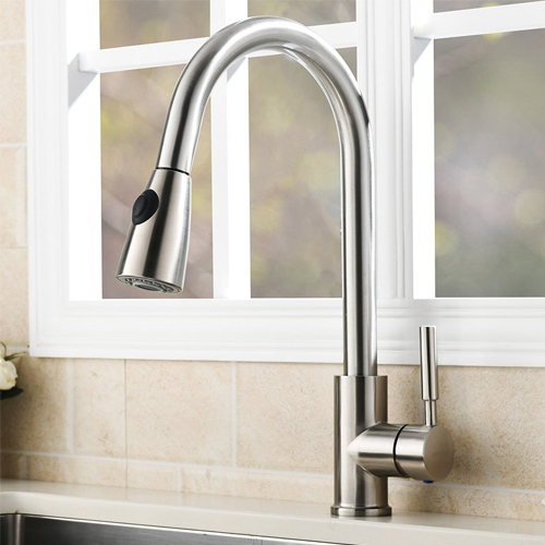 VAPSINT Stainless Steel Single Handle Pull Out Kitchen Sink Faucet