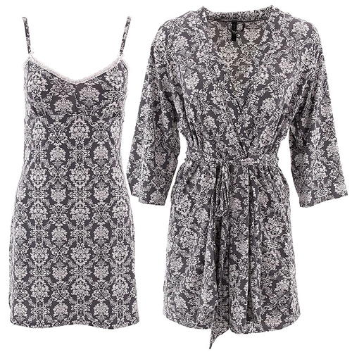 Laura Ashley Women's S-XL Gray Damask Chemise Robe Set
