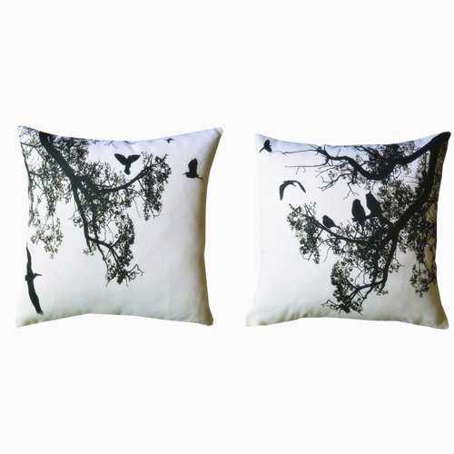 """Howarmer® Canvas Square Decorative Throw Pillows Black and White Decorative Pillows Birds and Trees Set of 2 Case Only 18"""" X 18"""""""