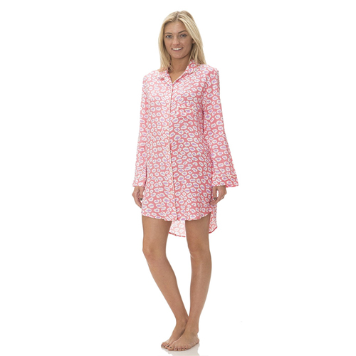 Pajama Drama Women's Super Soft Button Down Notched Collar Sleepshirt
