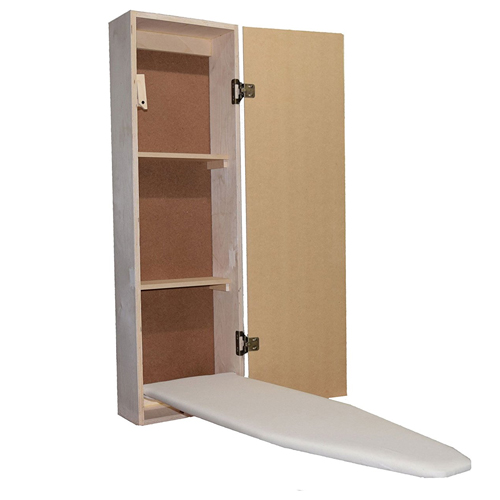 Built-in Ironing Board Cabinet Raw Wood, Iron Storage, Hide Away, Stow,