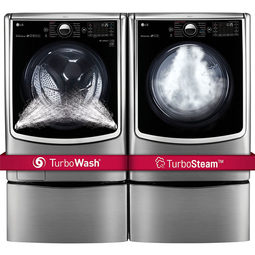 "LG POWER PAIR-Mega Capacity TurboWash Series 29"" Front Load Laundry System with Steam TechnologyPLUS Matching Storage Pedestals"