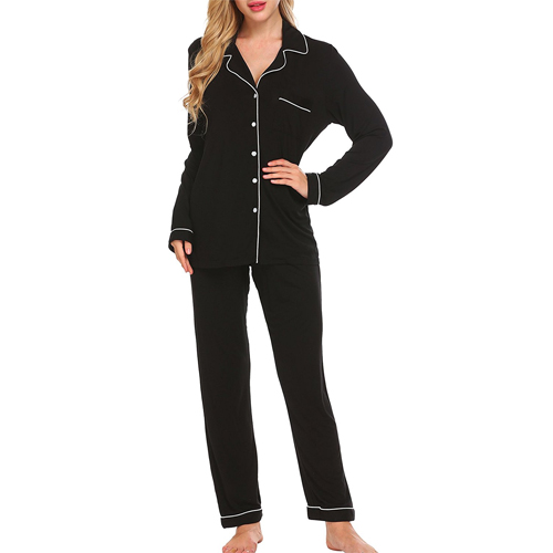Ekouaer Women's Comfort Sleepwear Long Sleeve Pajama with Pj Set (XS-XL)