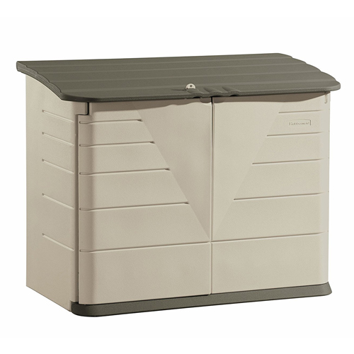 Rubbermaid Outdoor Horizontal Storage Shed, Large, 32 cu. ft., Olive/Sandstone