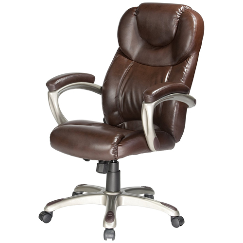 Comfort Products 60-5821 Granton Leather Executive Chair With Adjustable Lumbar Support, Brown