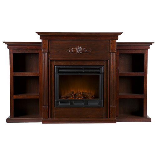 The Tennyson Electric Fireplace w/ Bookcases - Classic Espresso