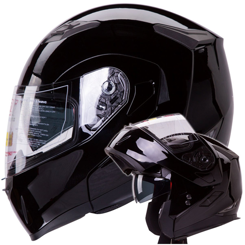 IV2 Model 953: Dual Visor Modular Flip up Gloss Black Motorcycle/Snowmobile Helmet DOT