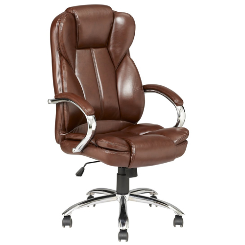 Brown Modern High Back Leather Executive Office Desk Task Computer Chair  W/Metal Base