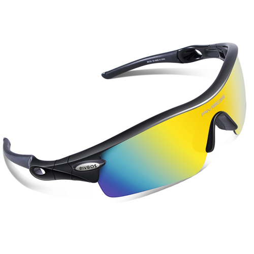 RIVBOS® 805 POLARIZED Sports Sunglasses Glasses with 5 Set Interchangeable Lenses for Cycling