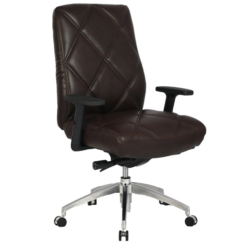 VIVA OFFICE Diamond Pattern Office Chair, High Back Brown Bonded Leather Chair Executive Chair With Adjustable Armrest-Viva 0973-Brown