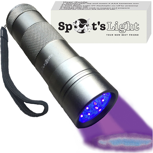 Spot's Light UV Blacklight Flashlight, Silver 12 LED, Ultraviolet Pet Urine Stain Detector