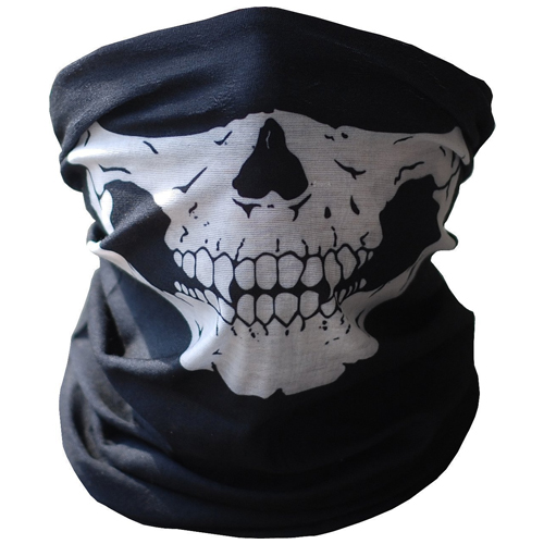 Etech Black Seamless Skull Face Tube Mask Buff