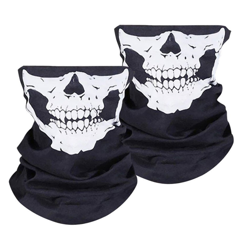 WOVTE Seamless Multi Function Skull Tube Tubular Half Face Mask Headband Headwear Bandana Neck Warmer Black Pack of 3