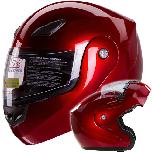 IV2 Bluetooth Compatible Modular Flip up Motorcycle Helmet Metallic Wine Red