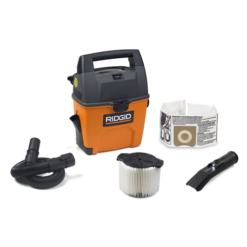 RIDGID Wet Dry Vacuums VAC3000 Portable Wet Dry Vacuum Cleaner for Car, Garage or In-Home Use, 3-Gallon, 3.5 Peak Horsepower Wet Dry Auto Vacuum Cleaner for Car