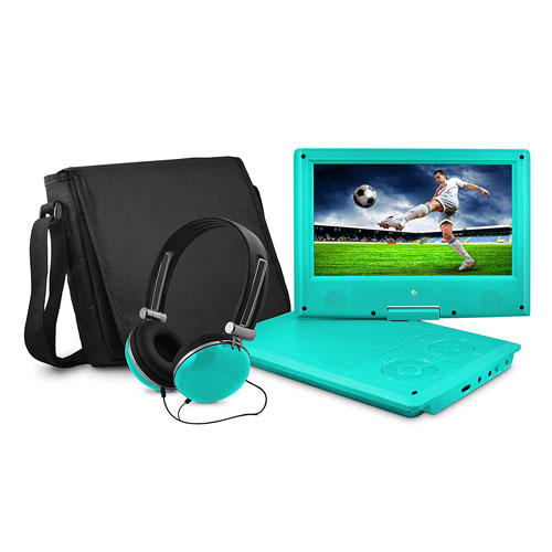 Ematic Personal DVD Player with 9-Inch Swivel Screen, Headphones, Carrying Case, Teal