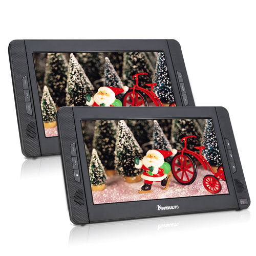 "10.1"" Dual Screen Portable DVD Player Rechargeable Battery-Black DVD Player"