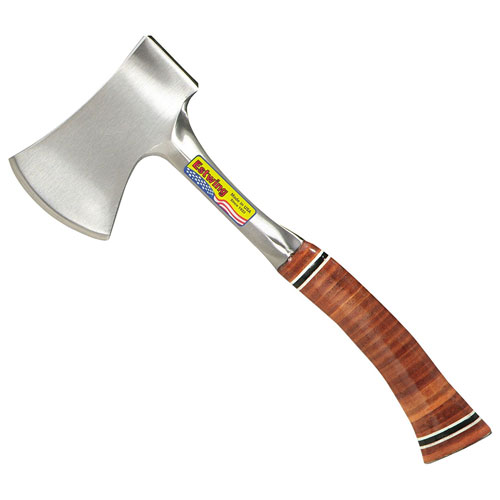 """Estwing Sportsman's Axe - 14"""" Camping Hatchet with Forged Steel Construction & Genuine Leather Grip - E24A"""