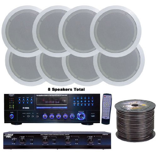 Pyle KTHSP85DV 4 Room Home In-Ceiling Speakers W/DVD/MP3 Amp System
