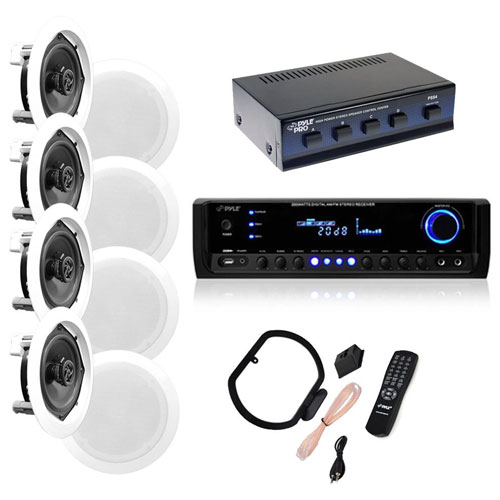 "4 Pairs of 150W 5.25"" In-Wall / In-Ceiling Stereo White Speakers w/ 300W Digital Home Stereo Receiver"