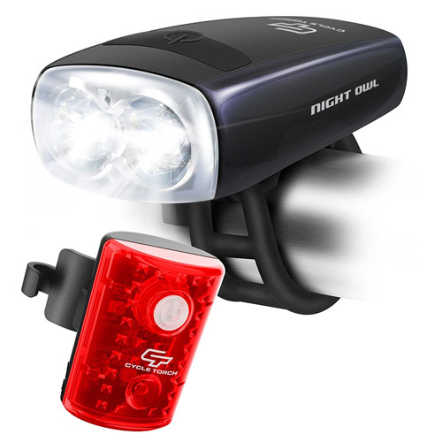 Cycle Torch Night Owl USB Rechargeable Bike Light Set Safety Front and Back Bicycle Light