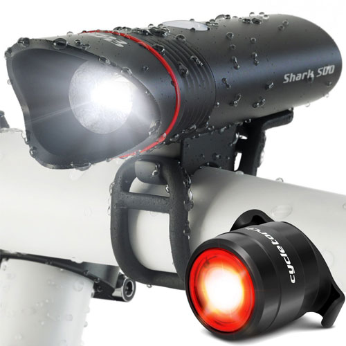 Cycle Torch Shark 500 USB Rechargeable Bike Light Set - FREE LED Taillight