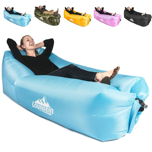 Inflatable Lounger air couch chair sofa pouch | Lazy hammock blow up bag | Lounge outdoor at the beach or camping