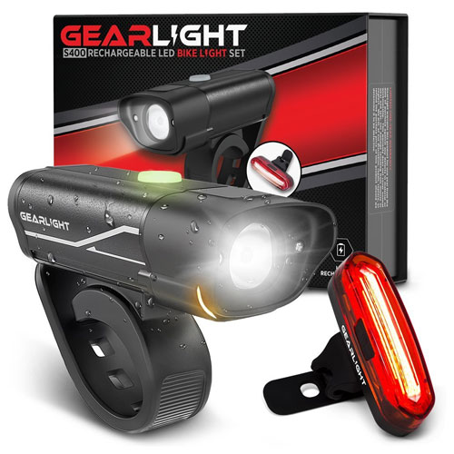 GearLight S400 Rechargeable LED Bike Light Set - High Lumen Front and Back Cycling Safety Lights