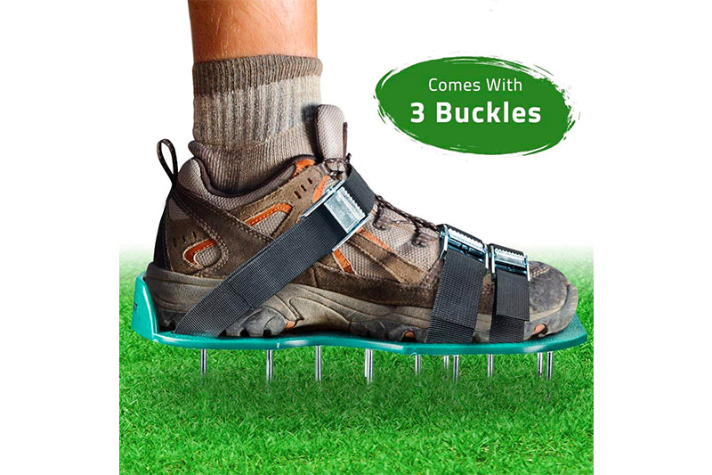 Lawn Aerator Spike Shoes – For Effectively Aerating Lawn Soil – Comes with 3 Adjustable Straps with Metallic Buckles
