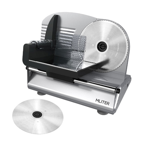 MLITER 150W Electric Food & Meat Slicer Machine with 2 Blades - 7.5 Inch Serrated & Non-serrated Stainless Steel Slicer