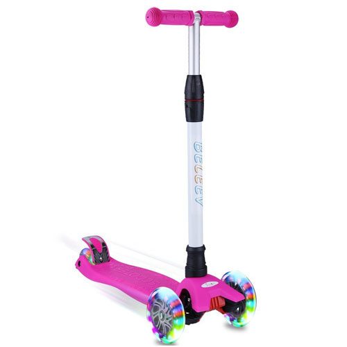 BELEEV Kick Scooter for Kids 3 Wheel Scooter, 4 Adjustable Height, Lean to Steer with PU LED Light