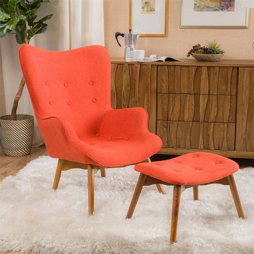 Acantha Mid Century Modern Retro Contour Chair with Footstool
